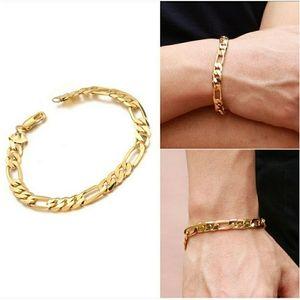 18k Yellow Gold Figaro Men's 8mm Bracelet